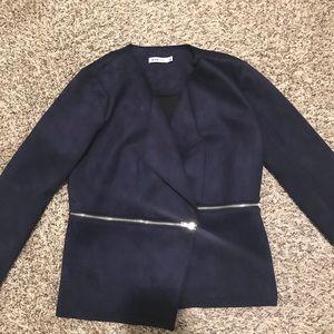 Blue zipper blazer